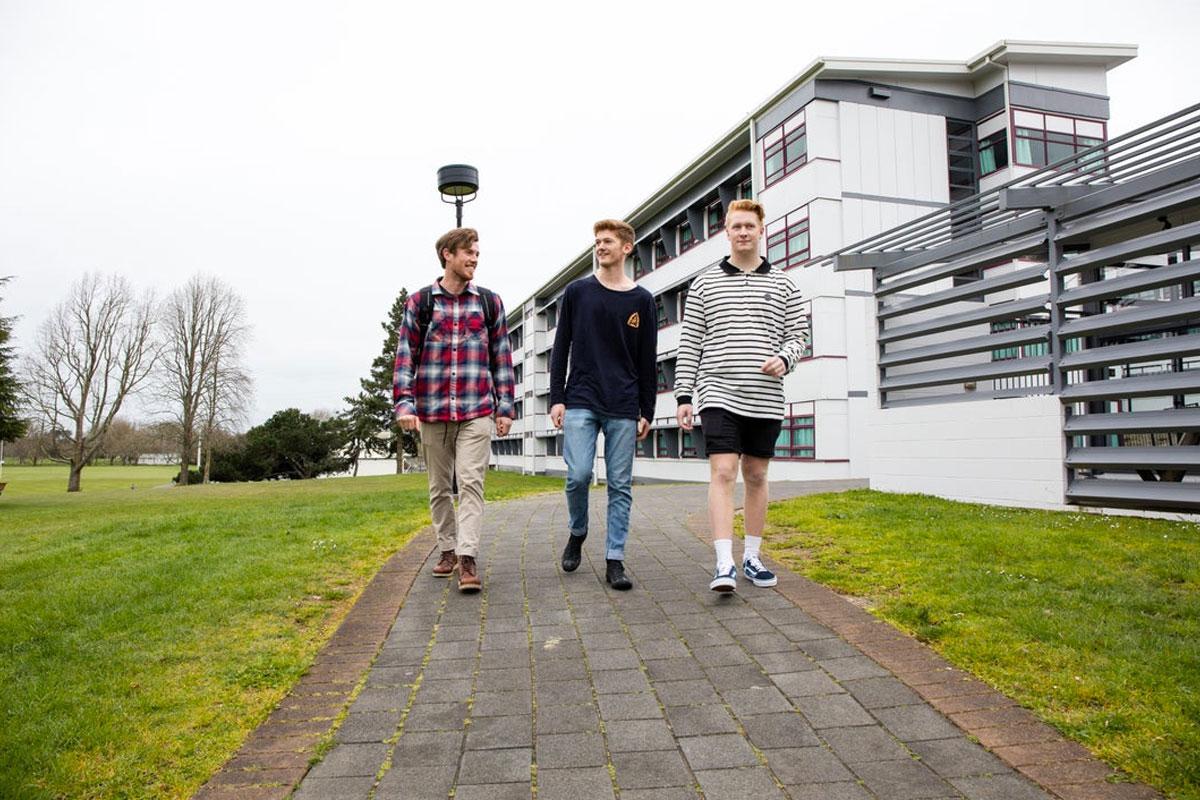 Students walking around College Hall